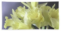Beach Towel featuring the photograph Fragile Daffodils by Jacqi Elmslie