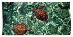 Fragile Underwater World. Sea Turtles In A Crystal Water. Maldives Beach Towel