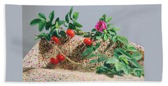 Beach Towel featuring the photograph Fragrant Rugosa Rose With Rosehips And Leaves by Nancy Lee Moran
