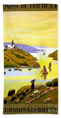 France Bretagne Vintage Travel Poster Restored Beach Towel