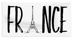 France Typography Beach Towel