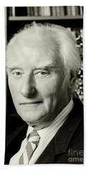 Francis Crick With Model Of Dna, 1995 Beach Towel