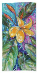 Beach Towel featuring the painting Frangipani by Linda Olsen
