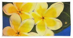 Beach Sheet featuring the painting Frangipani With Lady Bug by Sandra Phryce-Jones