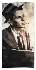 Frank Sinatra - Vintage Painting Beach Towel