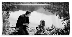 Frankenstein By The Lake With Little Girl Boris Karoff Beach Sheet
