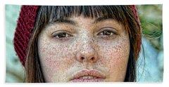 Freckle Face Closeup  Color Version Beach Towel by Jim Fitzpatrick