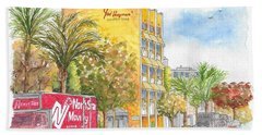 Fred Hayman Building, Cannon Dr And Clifton, Beverly Hills, Ca Beach Sheet by Carlos G Groppa