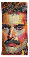 Freddie Mercury Colorful Portrait Beach Sheet