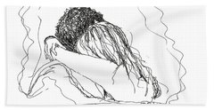Beach Towel featuring the drawing Free Hugs Bw by Denise Fulmer