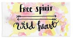 Free Spirit Wild Heart Watercolor Beach Towel