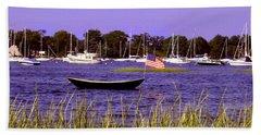 Freedom Bristol Harbor Rhode Island Beach Sheet by Tom Prendergast
