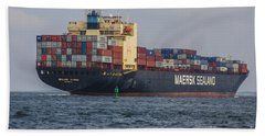 Freighter Headed Out To Sea Beach Towel
