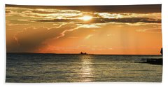 Freighter In The Sunset Beach Towel