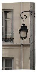 French Alley Lantern-sepia Beach Towel
