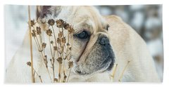 French Bulldog In The Snow Beach Towel