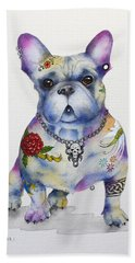 Beach Towel featuring the painting French Bulldog Ozzie by Patricia Lintner