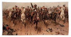 French Cavalry Charging Beach Towel