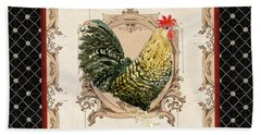 French Country Roosters Quartet Black 3 Beach Towel