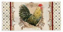 French Country Roosters Quartet Cream 3 Beach Towel