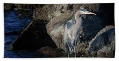 Beach Sheet featuring the photograph French Creek Heron by Randy Hall