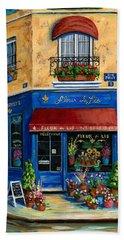 French Flower Shop Beach Towel