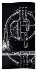 French Horn Beyond A Glass Table Beach Sheet by James Aiken