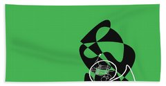 French Horn In Green Beach Towel