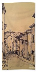 French Little Town Drawing Beach Towel