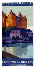 French Railway, Excursion To Brittany, Castle, Travel Poster Beach Towel