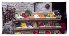 French Vegetable Stand Beach Sheet