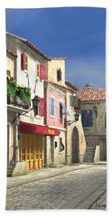 French Village Scene With Cobblestone Street Beach Sheet