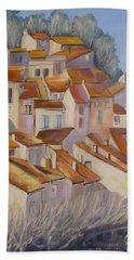 French Villlage Painting Beach Sheet by Chris Hobel