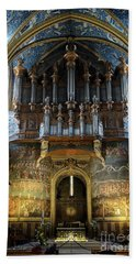 Fresco Of The Last Judgement And Organ In Albi Cathedral Beach Towel by RicardMN Photography