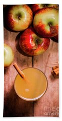 Fresh Apple Cider With Cinnamon Sticks And Apples Beach Towel