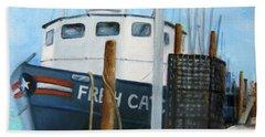 Fresh Catch Fishing Boat Beach Sheet