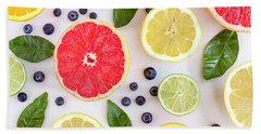 Fresh Citrus Fruits Beach Sheet