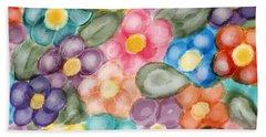 Fresh Flowers Beach Towel by Paula Brown