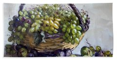 Fresh Grapes And Figs From Lida's Garden Beach Towel