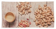 Fresh Peanuts, Shells, Raw Nuts And Peanut Butter Beach Towel