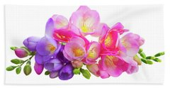 Fresh Pink And Violet Freesia Flowers Beach Sheet