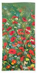 Fresh Poppies From The Garden Beach Sheet by Dorothy Maier