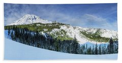 Beach Sheet featuring the photograph Fresh Snow At Mount Rainier by Dan Mihai
