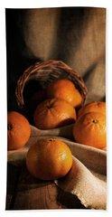 Beach Towel featuring the photograph Fresh Tangerines In Brown Basket by Jaroslaw Blaminsky