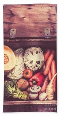 Fresh Vegetables In Wooden Box Beach Towel
