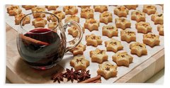 Freshly Baked Cheese Cookies And Hot Wine Beach Towel