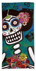 Beach Towel featuring the painting Frida Dia De Los Muertos by Pristine Cartera Turkus