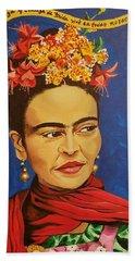 Frida Kahlo Beach Towel by Autumn Leaves Art