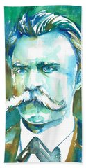 Friedrich Nietzsche Watercolor Portrait.1 Beach Sheet
