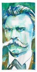 Friedrich Nietzsche Watercolor Portrait.1 Beach Towel